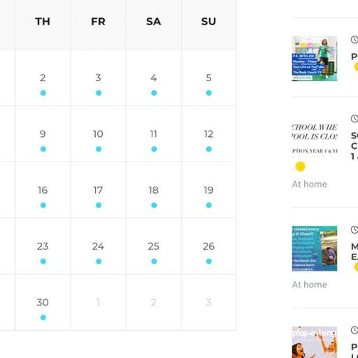 Classes Calendar